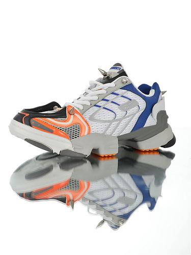 "Vetements x Reebok Spike 400 Runner""White Blue Grey"" 韩国订单版本 原产一致透吸网布鞋面 锁死铆钉不怕脱落 白灰蓝黄配色"