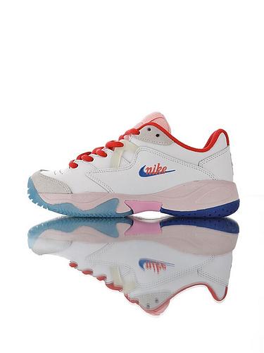 Nike Court Lite 2 Hard 韩系网红学院风  正确移膜革排气材质鞋面 耐克二代学院网球复古休闲运动慢跑鞋 白红粉蓝彩配色