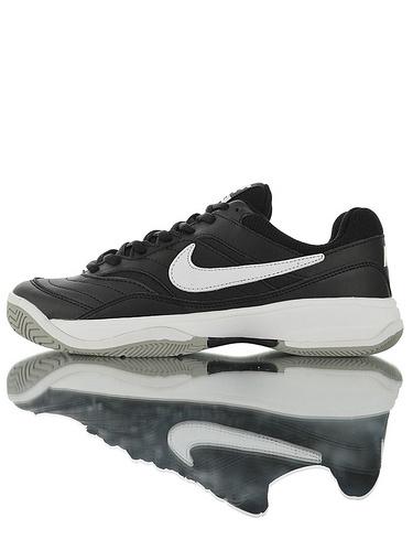 Nike Court Lite Black White 正确移膜革排气材质鞋面 最新高品质版本 耐克学院网球复古休闲运动慢跑鞋 黑白配色