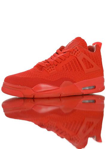 """Air Jordan 4 Flyknit""""University Red"""" 30周年纪念版本糖果色限定 具开发打造 针织透气中帮复古休闲运动文化篮球鞋 独立日红配色"""