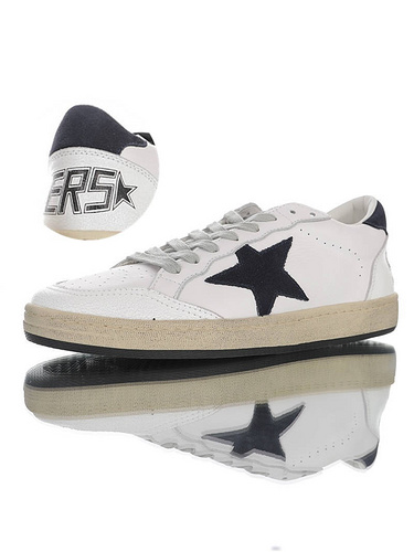 Golden Goose Ball Star distressed 意大利时装品牌·黄金鹅 球星系列经典复古运动小白板鞋 皮革白黑星星黑尾配色 G36WS592.A42