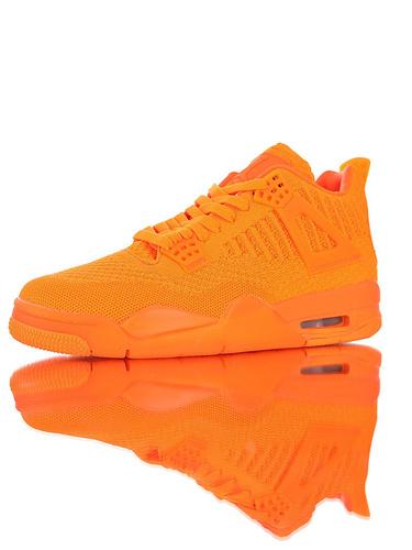 """Air Jordan 4 Flyknit""""Total Orange"""" 30周年纪念版本糖果色限定 具开发打造 针织透气中帮复古休闲运动文化篮球鞋 爱马仕橙配色"""