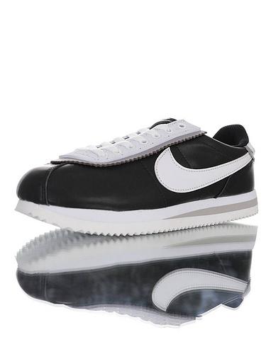 Nike Cortez Basic Leather SE 采用优质纤维皮革鞋面材质 耐克阿甘复古初代休闲百搭慢跑鞋 皮革黑白灰叠层鞋眼片配色 BV0017-001