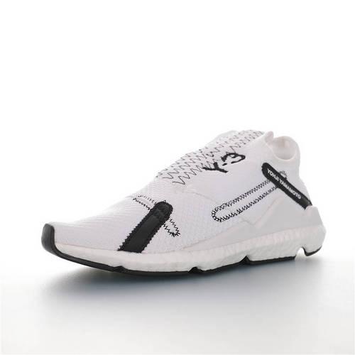 Adidas Y-3 Reberu Boost 全新无鞋带设计 三本耀司赛高针织一脚蹬袜套系列爆米花武士前卫慢跑鞋 针织白黑配色 F97389