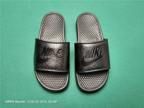 Nike Benassi JDI Slide 十年东莞专业拖鞋鞋厂出品 一体式橡塑材料与织物绑带增加衬垫设计 镭射激光打标 专柜品质 全黑数码配色