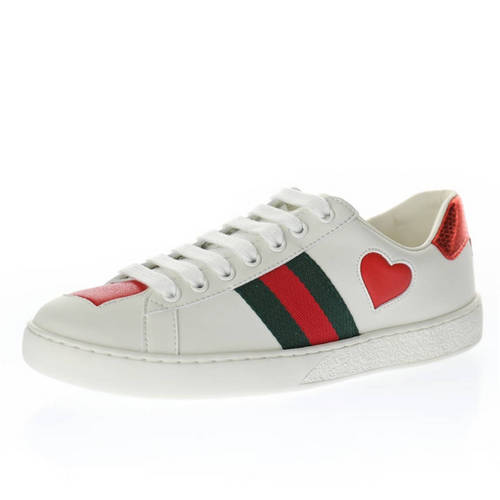 G家 Ace Embroidered Low-Top 米白爱心深绿红尾 435638 02JS0 9074
