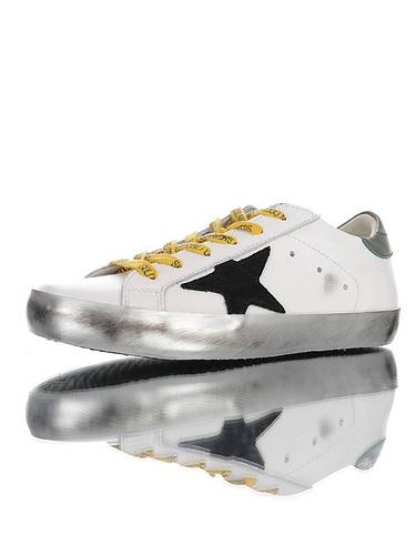 Golden Goose GGDB 脏星星板鞋 纯手工冷硫贴底工艺 采用头层牛皮革 轻度做旧效果 增高TPR扭曲固定模块 皮革白黑星古绿尾银底配色 G21D122.G14