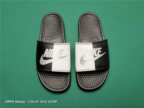 Nike Benassi JDI Slide 十年东莞专业拖鞋鞋厂出品 一体式橡塑材料与织物绑带增加衬垫设计 镭射激光打标 专柜品质 黑白阴阳面黑底配色