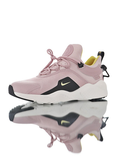 Nike Women's Air Huarache City MoveBlack/Black 华莱士城市移动系列套脚休闲运动百搭慢跑鞋 淡粉黑黄配色
