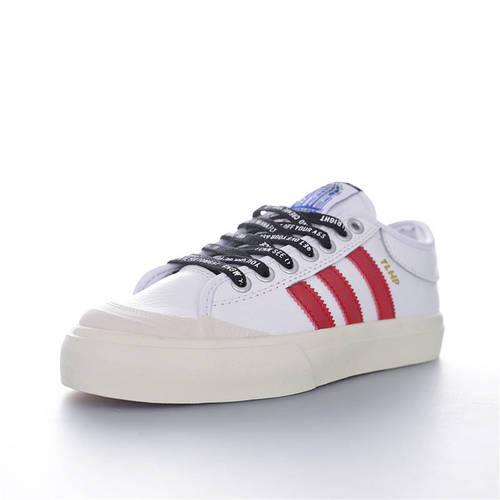 A$AP Ferg x Adidas Originals Matchcourt Low 说唱歌手联名 半截式包胶鞋头校园低帮休闲运动板滑板鞋 皮革白大学红黑配色 CG5615