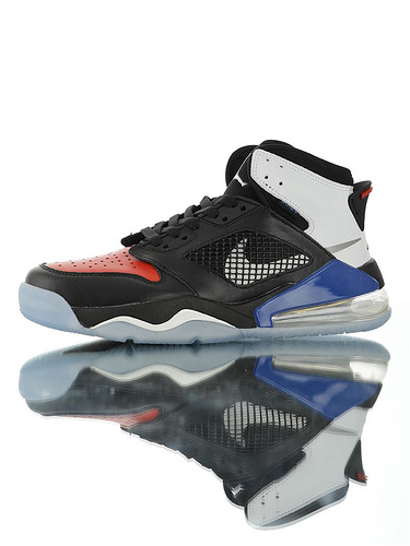 """Jordan Mars 270 """"Blue Red"""" 后掌回弹气垫大底 火星之子混合鞋面高帮休闲运动篮球鞋 皮革鸳鸯黑宝蓝红白配色"""