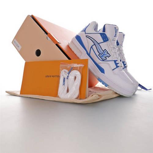 Louis Vuitton Trainer Sneaker Low VA亲自操刀设计 吴亦凡同款 优选性价比版本 路易威登文化板鞋 皮革白宝蓝流星LV配色 1A54J8