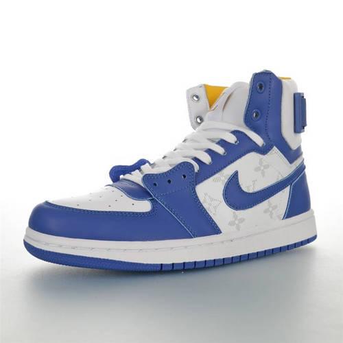 Louis Vuitton x Air Jordan 1 Hi 路易威登创意混合定制 AJ1乔丹一代高帮篮球鞋 LV宝蓝白黄老花配色 AG2U7AMDBJIN-400