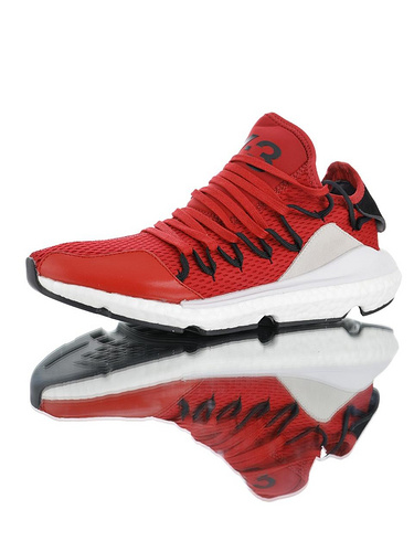 Adidas Y-3 Kusari 三本耀司亲力设计款 独立鞋带系统 原装真爆材质高端硬质礼盒 库萨日系列爆米花袜套武士前卫慢跑鞋 网眼大红白黑配色
