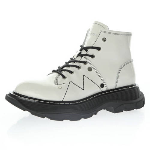 Alexander McQuee Round Toe Sole Leather Boots 亮皮白黑 595469 WHQS G9089