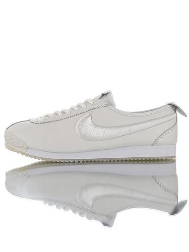 Nike Wmns Cortez '72 韩国订单品质  鞋面采用渠道超软头层羊皮革材料 钢印+刷胶中底板 耐克阿甘科特斯系列复古慢跑鞋 全白电绣钩配色