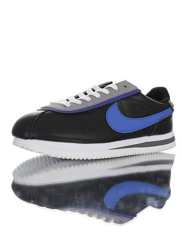 Nike Cortez Basic Leather SE 采用优质纤维皮革鞋面材质 耐克阿甘复古初代休闲百搭慢跑鞋 皮革黑灰皇家蓝叠层鞋眼片配色 CD7253-002