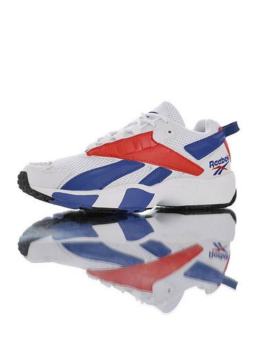 Reebok Interval 96 陈伟霆明星同款 全新具开发打造 时隔二十三年的立体大LOGO设计 美国锐步间隙系列复古休闲运动老爹慢跑鞋 白皇家蓝红配色