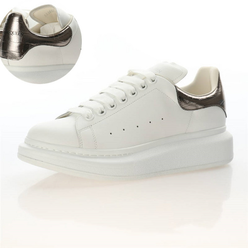 Alexander McQueen Sole Sneakers 意大利高奢品牌亚历山大·麦昆 低帮时装厚底小白鞋 白铜灰鳄鱼纹尾配色462214 WHGP7 9391