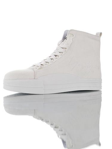 Adidas Y-3 Yuben Canvas HI 广东原产超软皮内里折边工艺 硬质礼盒版本 三本耀司19年帆布高帮百搭休闲运动板鞋 纯白签名配色