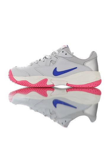 Nike Court Lite 2 Hard 韩系网红学院风  正确移膜革排气材质鞋面 耐克二代学院网球复古休闲运动慢跑鞋 灰宝蓝白粉配色