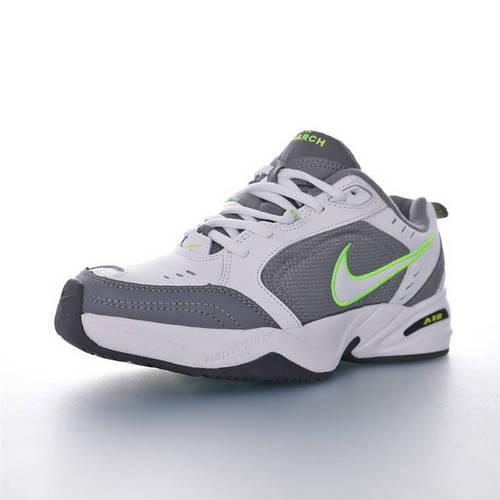 Nike Air Monarch IV 性价比的时尚复古老爹鞋 耐克帝王4代复古老爹百搭休闲慢跑鞋 皮革灰白荧光绿配色 415445-100