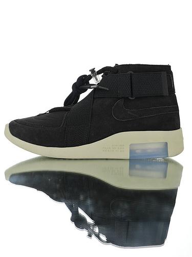 "FOG-Fear of God x Nike Air Fear Of God 180恐惧之神联名 最强""三合一""原装渠道丝光磨砂头层 交叉魔术粘设计中筒短靴运动鞋 磨砂黑配色"