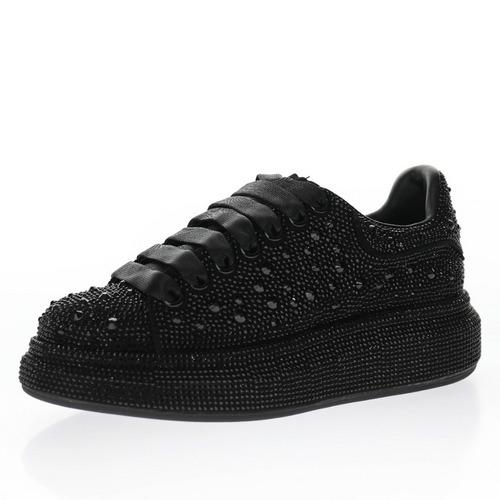 Alexander McQueen sole sneakers 绒皮黑贴钻 462214 WHFBU 9042