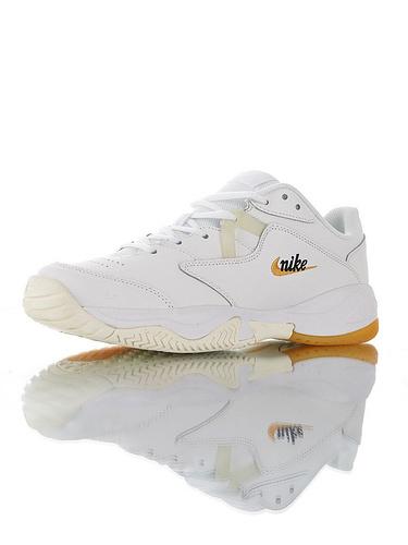 Nike Court Lite 2 Hard 韩系网红学院风 具开发打造 正确移膜革排气材质鞋面 耐克二代学院网球复古休闲运动慢跑鞋 白黑橘黄配色