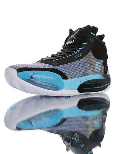 Air Jordan XXXIV 未来篮球鞋的蓝本 内置真Zoom纤维气垫装置 前后独立气垫+超轻鞋面 AJ34代史上最轻篮球鞋 黑浅蓝配色 BQ3381-102
