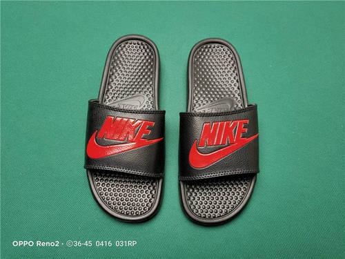 Nike Benassi JDI Slide 十年东莞专业拖鞋鞋厂出品 一体式橡塑材料与织物绑带增加衬垫设计 镭射激光打标 专柜品质 全黑红标配色