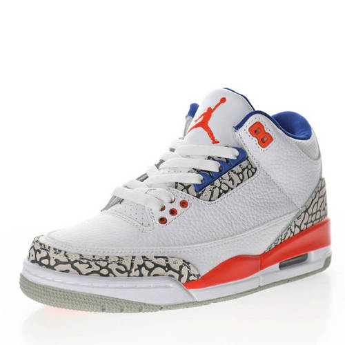 "Air Jordan 3 ""Knicks"" 尼克斯白橙蓝爆裂纹 136064-148"