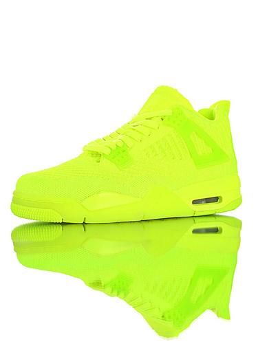 """Air Jordan 4 Flyknit""""Volt"""" 30周年纪念版本糖果色限定 具开发打造 针织透气中帮复古休闲运动文化篮球鞋 荧光原谅绿配色"""