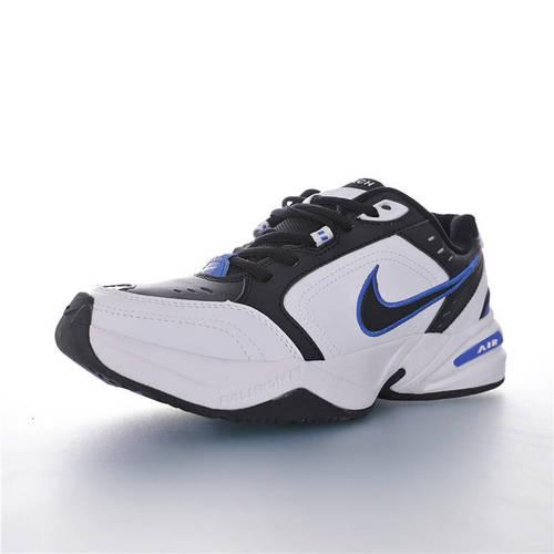 Nike Air Monarch IV 性价比的时尚复古老爹鞋 耐克帝王4代复古老爹百搭休闲慢跑鞋 皮革白黑皇家蓝配色 415445-002