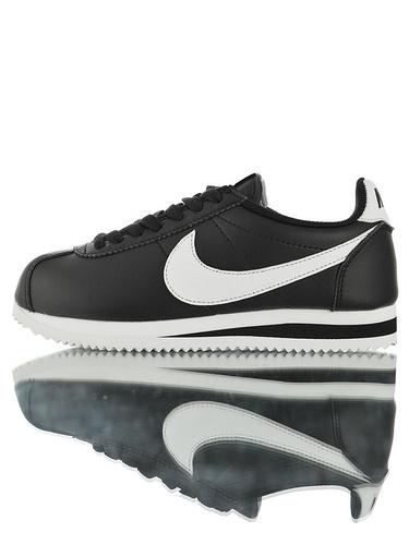 Nike Classic Cortez Leather  升级原装一致牛剖层移膜革  耐克阿甘复古初代皮革慢跑鞋 皮革黑白配色