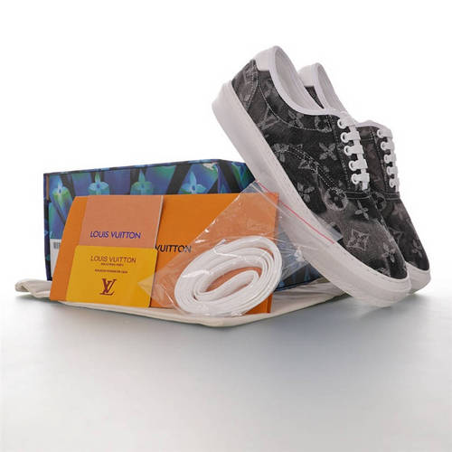 Louis vuitton Trocadero Sneaker Low 吴亦凡同款 路易威登特罗卡迪罗五孔系带低帮板鞋 提花浅灰黑牛仔配色 1A819S
