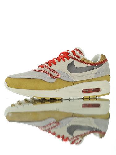 Nike Air Max 1 Inside Out 河源SZ代工渠道出品 无盒拼接可过验 库存稀少 耐克百搭复古气垫休闲运动慢跑鞋 翻转麂皮灰土黄红配色