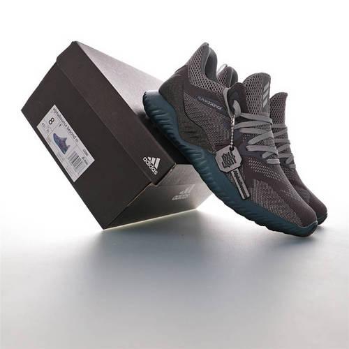 Adidas AlphaBOUNCE M Leather 阿迪达斯阿尔法系列鲨鱼鳃纹大底套脚休闲运动慢跑鞋 网织深灰石墨绿底配色 CG3305