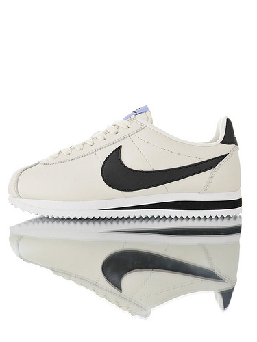 Nike Wmns Classic Cortez Leather Pure Platinum19ss海外限定 经典复古阿甘慢跑鞋 奶油白黑浅配色