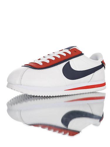 Nike Cortez Basic Leather SE 采用优质纤维皮革鞋面材质 耐克阿甘复古初代休闲百搭慢跑鞋 皮革白红曜石蓝叠层鞋眼片配色 CD7253-100