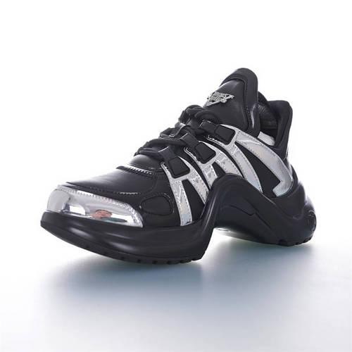 Louis Vuitton Archlight Sneakers Ins炸款米兰走秀风 路易威登减震运动弓型舞蹈老爹运动鞋 黑棕液态银配色 1A67AG