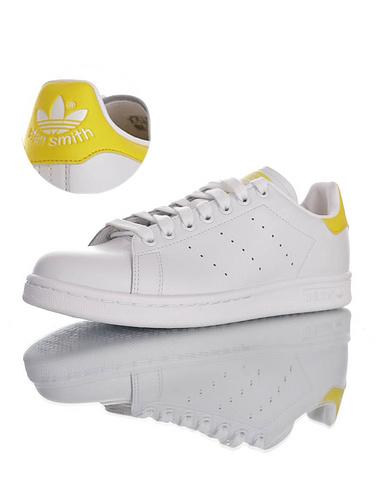 Originals Stan Smith Leather 2020ss阿迪达斯 史密斯经典百搭复古休闲运动板鞋 皮革白柠檬浅黄尾配色 EF6883