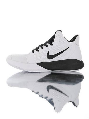 Nike Precision III White Black全新入门级球鞋 耐克精密三代系列休闲运动文化篮球鞋 白黑配色
