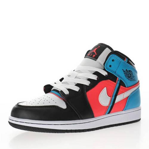 "Air Jordan 1 Mid GS""Game Time"" 黑蓝红彩色拼接 CV4891-001"