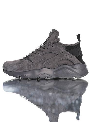 Nike Air Huarache Ultra Suede Zip ID 高几率过虎扑版本 内置Air纤维小气垫装置 四代华莱士复古慢跑鞋 麂皮碳灰黑拉链配色