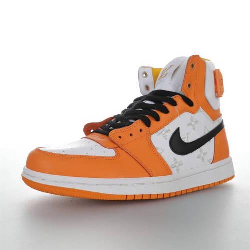 Louis Vuitton x Air Jordan 1 Hi 路易威登创意混合定制 AJ1乔丹一代高帮篮球鞋 LV橙白黑灰老花配色 AG2U7AMDBJIN-900