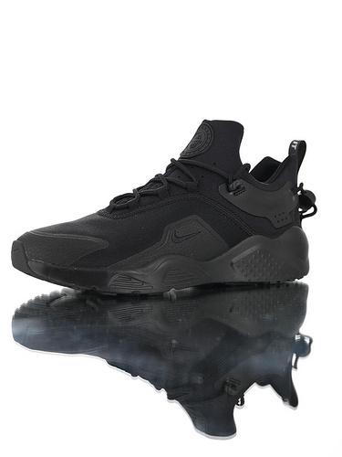 Nike Women's Air Huarache City MoveBlack/Black 华莱士城市移动系列套脚休闲运动百搭慢跑鞋 全黑武士配色
