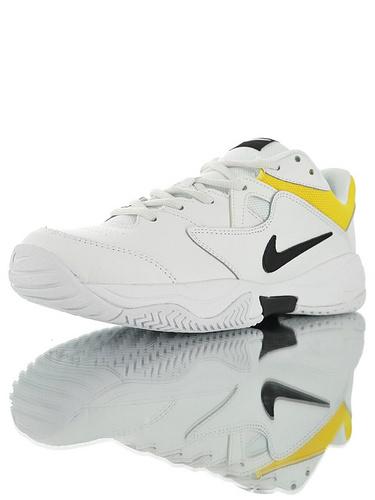 Nike Court Lite 2 Hard 韩系网红学院风 具开发打造 正确移膜革排气材质鞋面 耐克二代学院网球复古休闲运动慢跑鞋 黑白亮黄配色