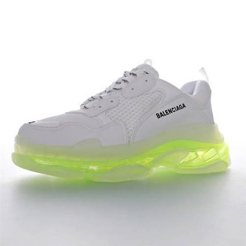 Balenciaga Triple S Clear Sole Sneaker 高奢品牌巴黎世家 时装复古厚底做旧姥爷球鞋 透明气垫白荧光绿底配色544351 W09OL1