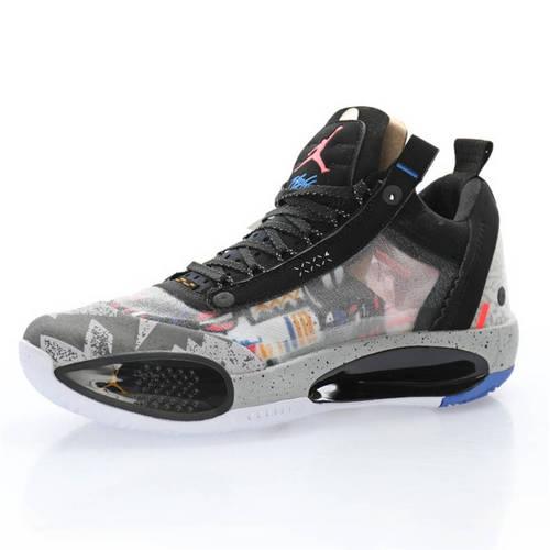"Air Jordan XXXIV Low PF""Print"" 涂鸦黑白蝉翼灰爆裂纹 CZ7746-008"